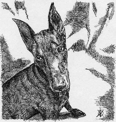 Contemporary Dog Art Drawing - Doberman by KM Paintings