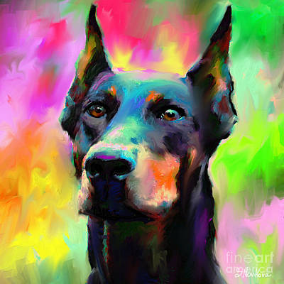 Colorful Dog Painting - Doberman Pincher Dog Portrait by Svetlana Novikova