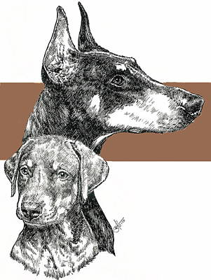 Mixed Media - Cropped Doberman Pinscher And Pup by Barbara Keith
