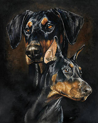 Mixed Media - Doberman Pinscher by Barbara Keith