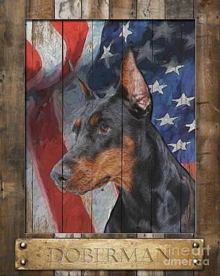 Digital Art - Doberman Pinscher Flag Poster by Tim Wemple