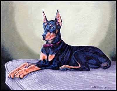 Doberman Pinscher Painting - Doberman Pinscher For Teri by John Lautermilch
