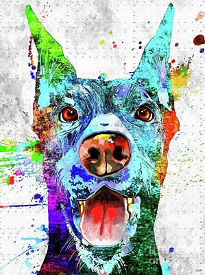 Watercolor Pet Portraits Mixed Media - Doberman Pinscher Grunge by Daniel Janda