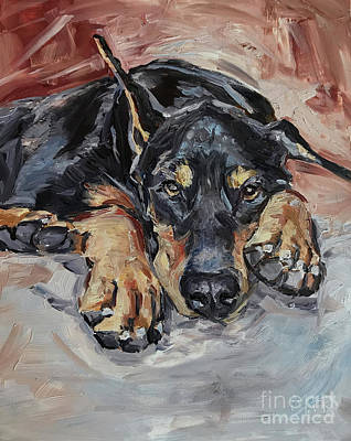Doberman Pinscher Wall Art - Painting - Doberman Pinscher by Maria's Watercolor