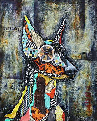 Mixed Media - Doberman Pinscher by Patricia Lintner