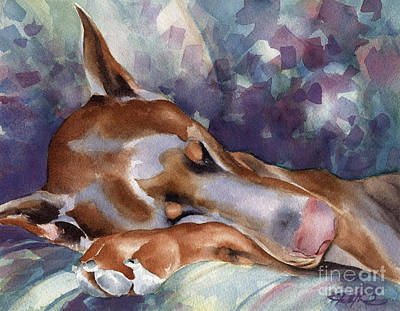 Doberman Pinscher Wall Art - Painting - Doberman Pinscher Sleeping by David Rogers
