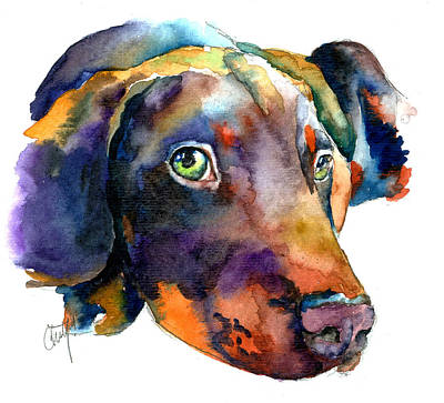 Doberman Watercolor Print by Christy  Freeman