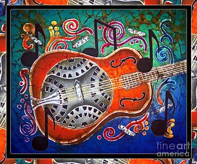 Dobro - Slide Guitar-bordered Art Print by Sue Duda