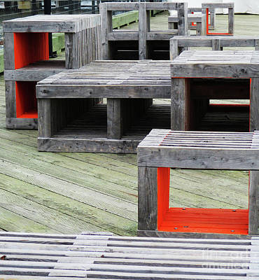 Photograph - Dock Benches by Randall Weidner