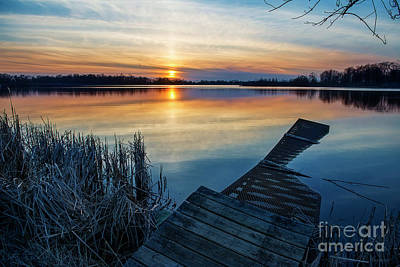 Photograph - Dock In The Water At Sundown by David Arment