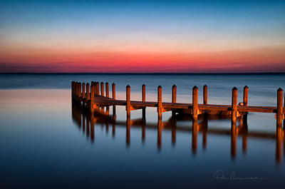 Dan Beauvais Royalty-Free and Rights-Managed Images - Dock on Currituck Sound 5665 by Dan Beauvais