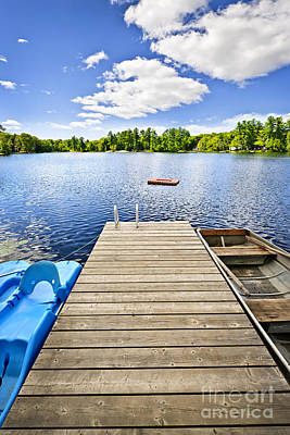 Dock On Lake In Summer Cottage Country Print by Elena Elisseeva