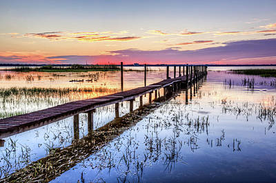 Photograph - Dock Reflections At Dawn by Debra and Dave Vanderlaan