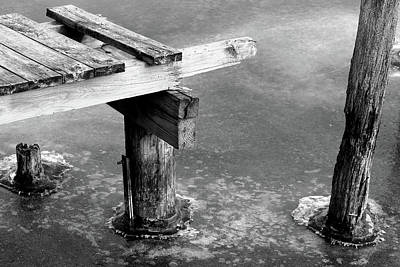 Photograph - Dock To Nowhere In Ice 2017 Bw by Mary Bedy