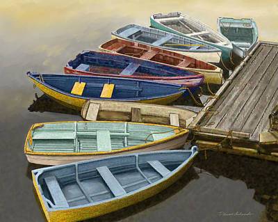 Row Boat Digital Art - Dock With Colorful Boats by Dennis Orlando