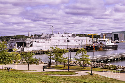 Typography Tees - Docked At Ft Trumbull by Joe Geraci