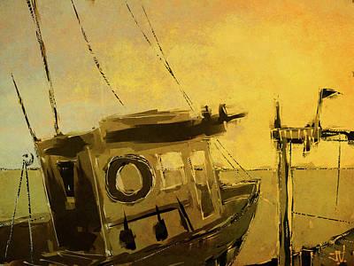 Digital Art - Docked At Sunset by Jim Vance