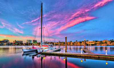Docked At Twilight Art Print