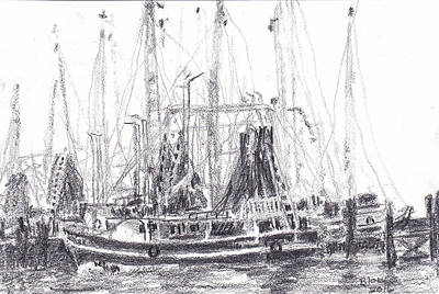 Drawing - Docked Back Bay - Shrimp Boat by Barry Jones
