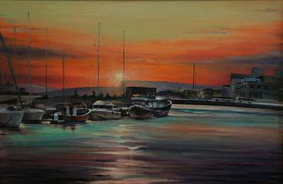 Sicily Painting - Docked In Sicily by Keith Cutrufello