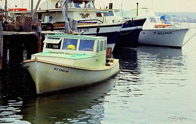 Photograph - Docked Lobster Boats In Gloucester by Frank Wilson