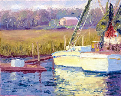 Tidal Creek Painting - Docked by Patricia Huff