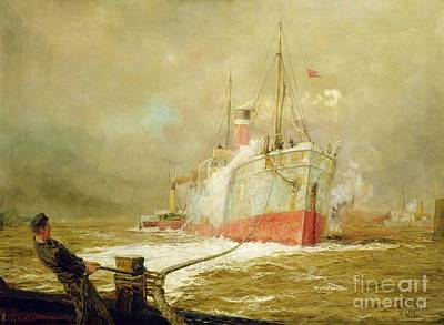 Boat Harbour Wall Art - Painting - Docking A Cargo Ship by William Lionel Wyllie