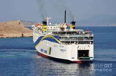 Docking Ferry On Halki Art Print