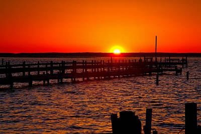 Docks And Sunset Art Print by Steven Ainsworth