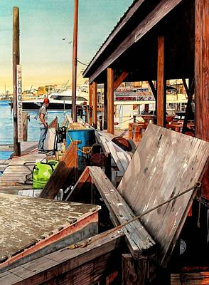 Painting - Docks At Port Aransas by Robert W Cook
