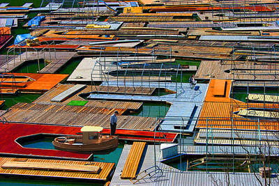 Photograph - Docks In A Row by Melvin Kearney
