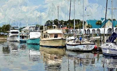 Dockside At Port St. Joe Marina In Cape San Blas Florida Art Print by D S Images