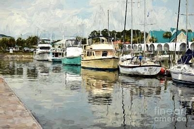 Docked At Port St. Joe Marina - Cape San Blas Fl Print by D S Images