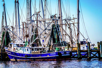 Photograph - Dockside Shrimpers by Barry Jones
