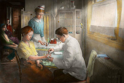 Photograph - Doctor - Applying First Aid - 1917 by Mike Savad