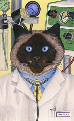 Doctor Cat Art Print by Carol Wilson