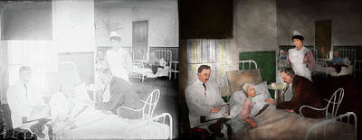 Photograph - Doctor - Hospital - Bedside Manner 1915 - Side By Side by Mike Savad
