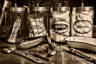 Doctor - Tongue Depressors And More In Black And White Art Print