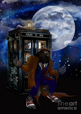 Digital Art - Doctor Werewolf At Full Moon by Three Second