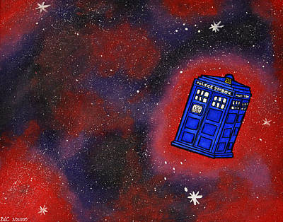 Fandom Painting - Police Box In Space by Briana Campbell