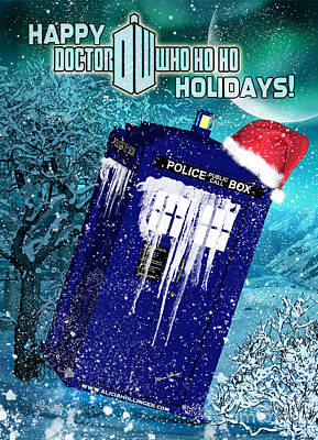 Digital Art - Doctor Who Tardis Holiday Card by Alicia Hollinger