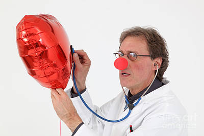 Clown Nose Photograph - Doctor With Red Nose And Heart Balloon by Rolf Fischer