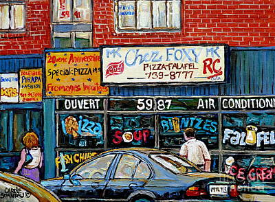 Montreal Chips Painting - Documenting Vintage Montreal Pizza Places Chez Foxy Kosher Deli Street Scene Paintings C Spandau Art by Carole Spandau