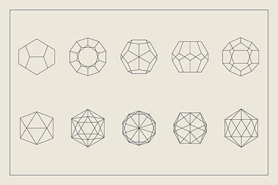 Icosahedron Digital Art - Dodecahedron And Icosahedron Projections by Sacred Geometry School