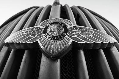 Photograph - Dodge Brothers Emblem Jerome Az Black And White by Toby McGuire