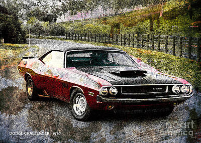 On Paper Digital Art - Dodge Challenger 1970 by Pablo Franchi