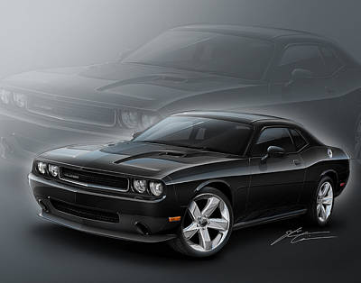Challenger Digital Art - Dodge Challenger 2013 by Etienne Carignan