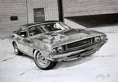 Challenger Drawing - Dodge Challenger Rt 1970 by Miro Porochnavy
