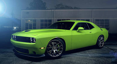 Photograph - Dodge Challenger S R T Hellcat Green by Movie Poster Prints