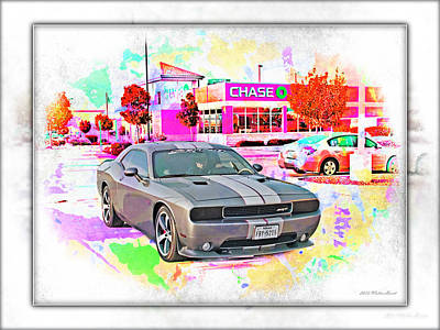 Modern Sophistication Beaches And Waves - Dodge Challenger SRT _A6 by Walter Herrit